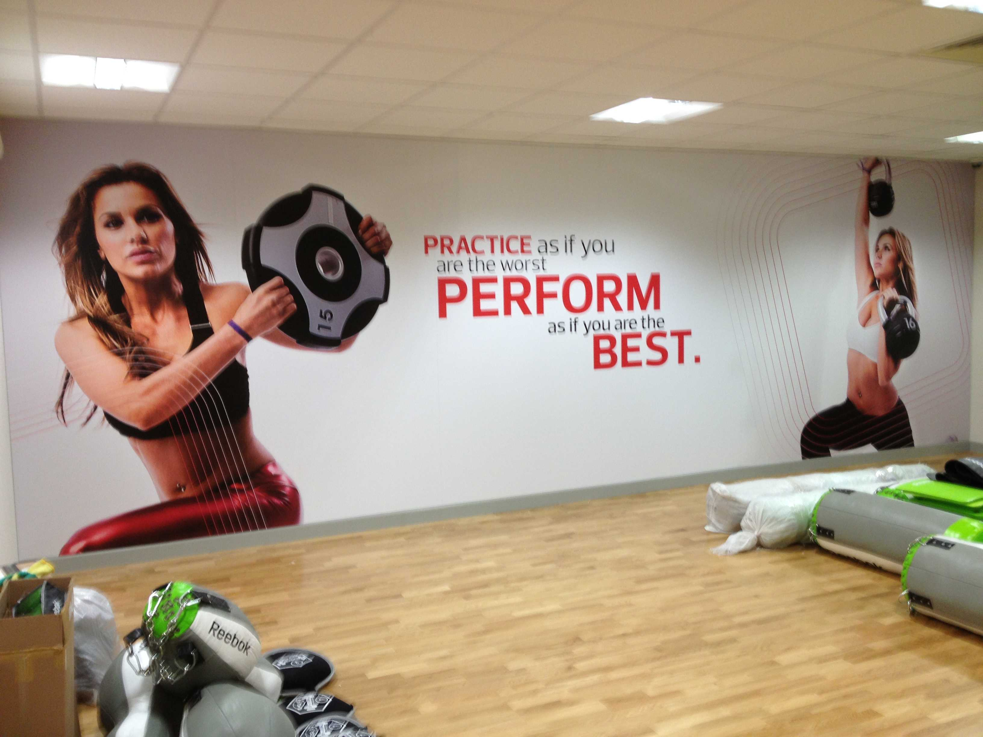 wall art graphic in gym