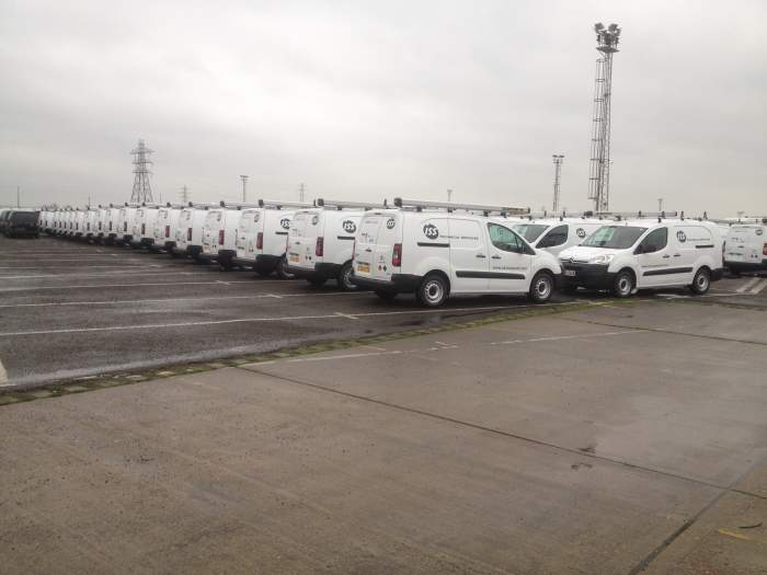 fleet of vans with vehicle graphics